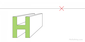 """drawing one-point perspective letter """"H"""": step 4"""