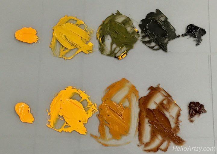 Cadmium Orange + Black vs. Cadmium Orange + Burnt Umber