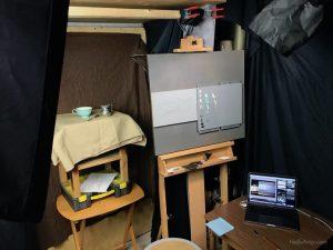 tea time oil painting studio setup