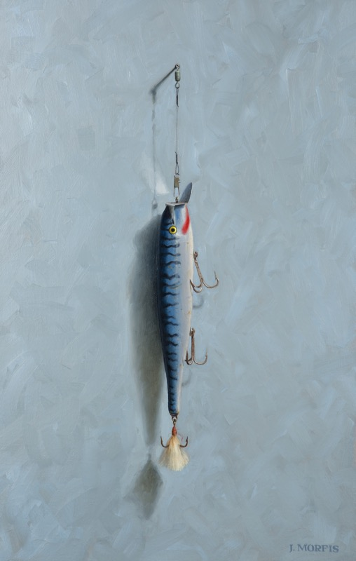 """Striper"" Oil Painting of Stan Gibbs GTS 3 fishing lure"