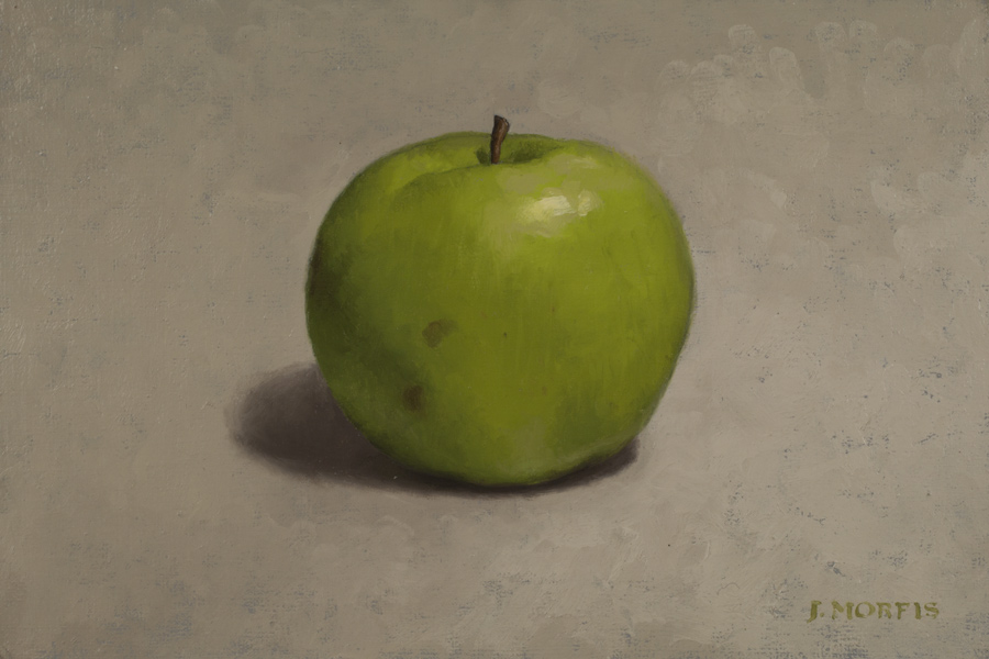Green Apple Painting by Artist John Morfis