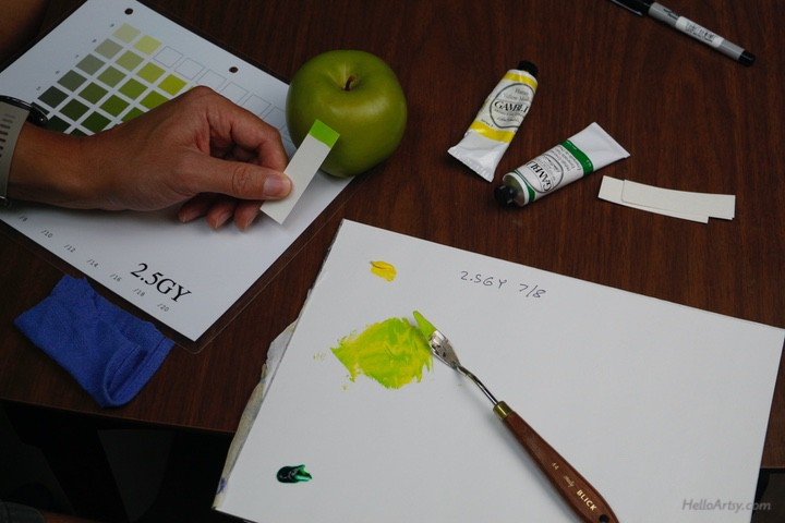 painting green apple