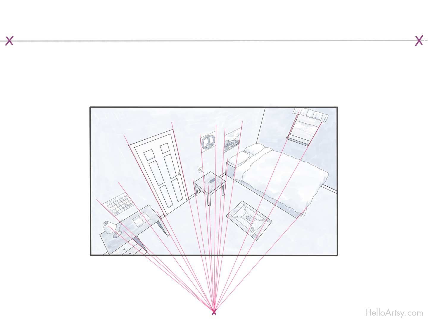 Room - showing three point perspective lines