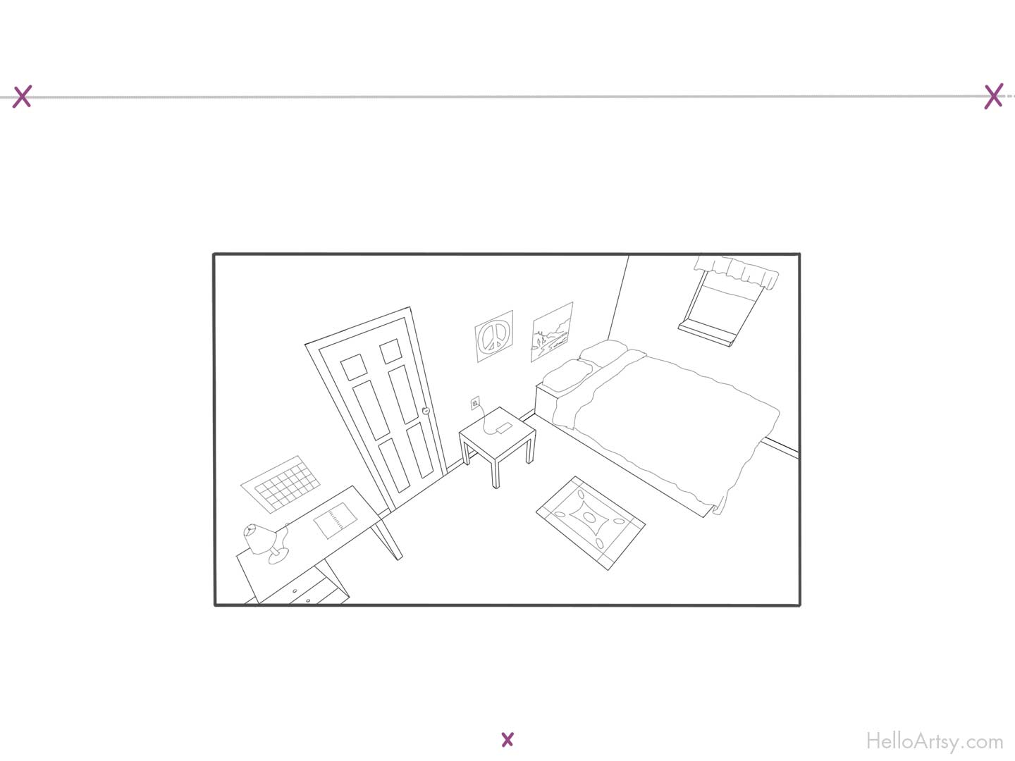 Room in 3 Point Perspective - step-9
