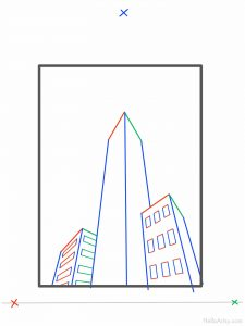 How To Draw 3 point perspective buildings: step 6