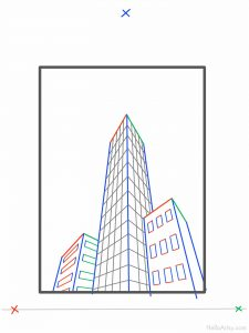 How To Draw 3 point perspective buildings: step 7
