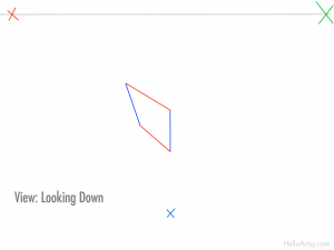 three point perspective box: step 3