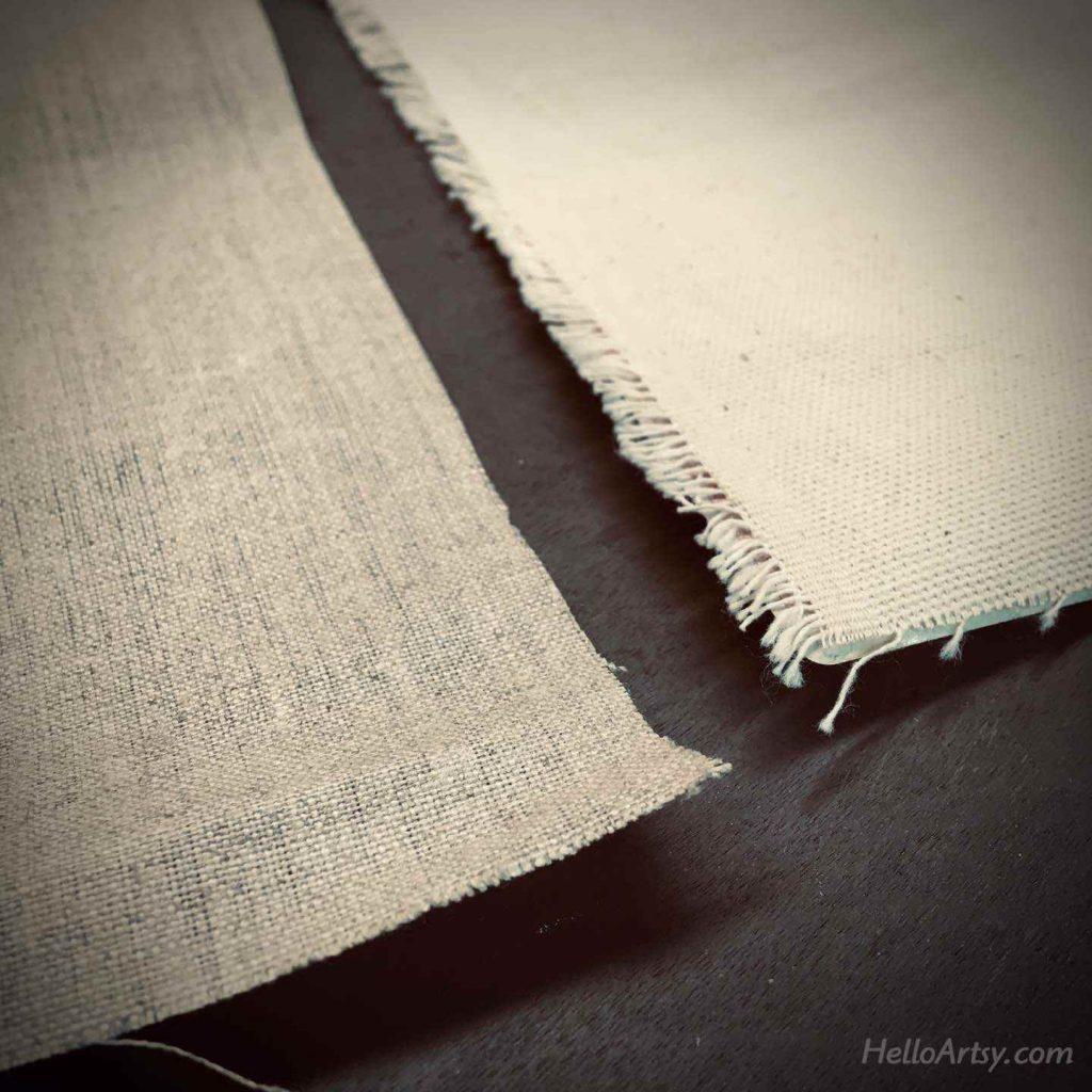 linen vs. cotton (closeup showing color and texture)