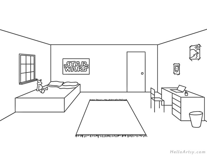 one point perspective bedroom drawing example: complete line drawing