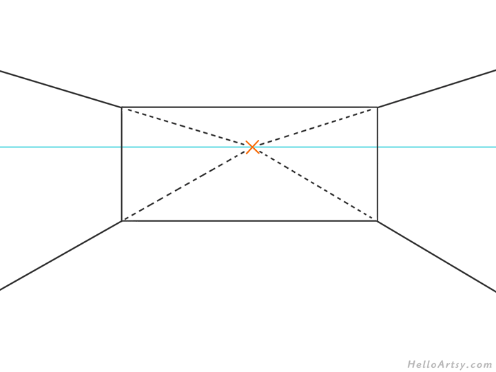 one point perspective bedroom drawing example STEP 02
