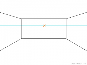 one point perspective bedroom drawing example STEP 03