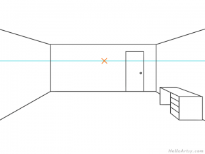 one point perspective bedroom drawing example STEP 05