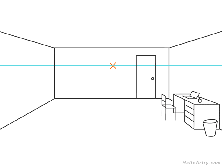 one point perspective bedroom drawing example STEP 06