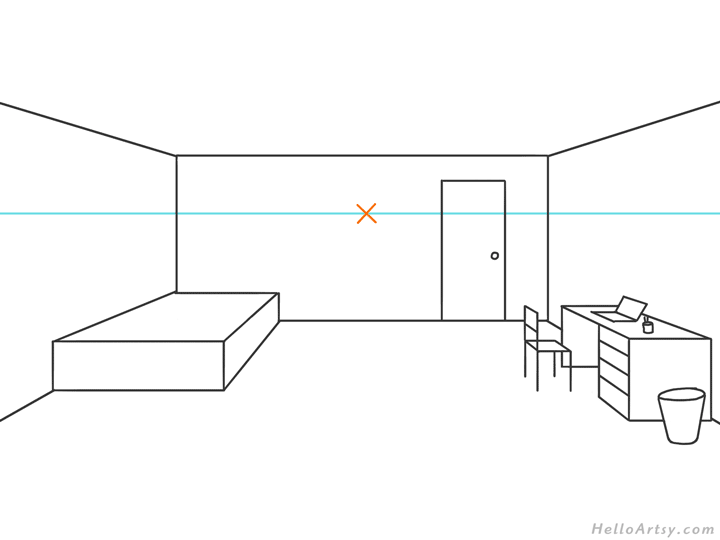 one point perspective bedroom drawing example STEP 07