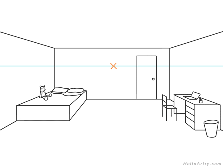 one point perspective bedroom drawing example STEP 08