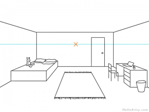 one point perspective bedroom drawing example STEP 09