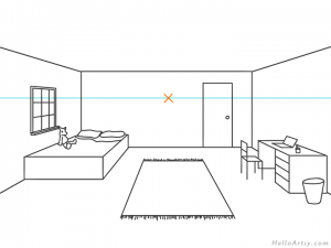 one point perspective bedroom drawing example STEP 10