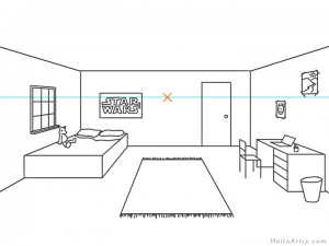 one point perspective bedroom drawing example STEP 11