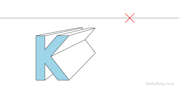 "drawing one-point perspective letter ""K"": complete"