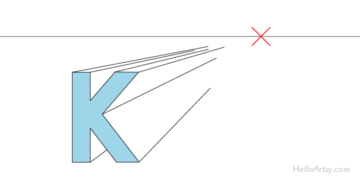 "drawing one-point perspective letter ""K"": step 2"