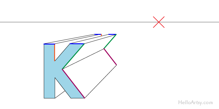 "drawing one-point perspective letter ""K"": step 5"