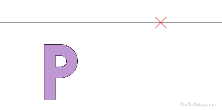 """drawing one-point perspective letter """"K"""": step 1"""