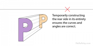 """drawing one-point perspective letter """"K"""": step 4"""