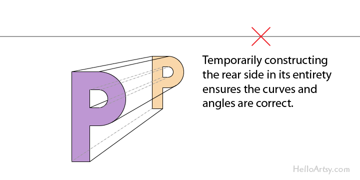 "drawing one-point perspective letter ""K"": step 4"