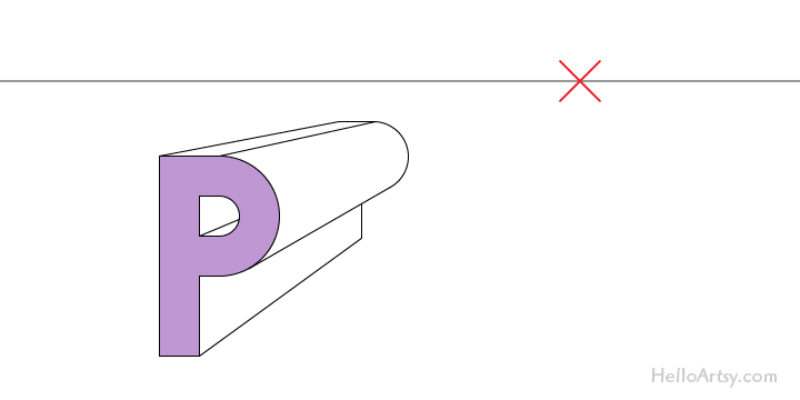 """drawing one-point perspective letter """"K"""": step 5 - complete!"""