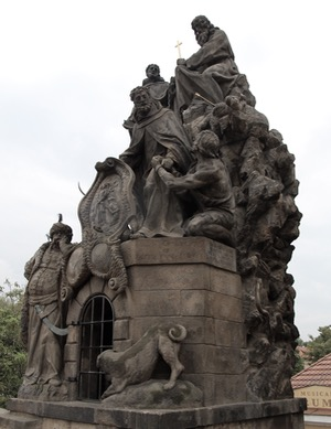 Charles Bridge Sculpture with Dog