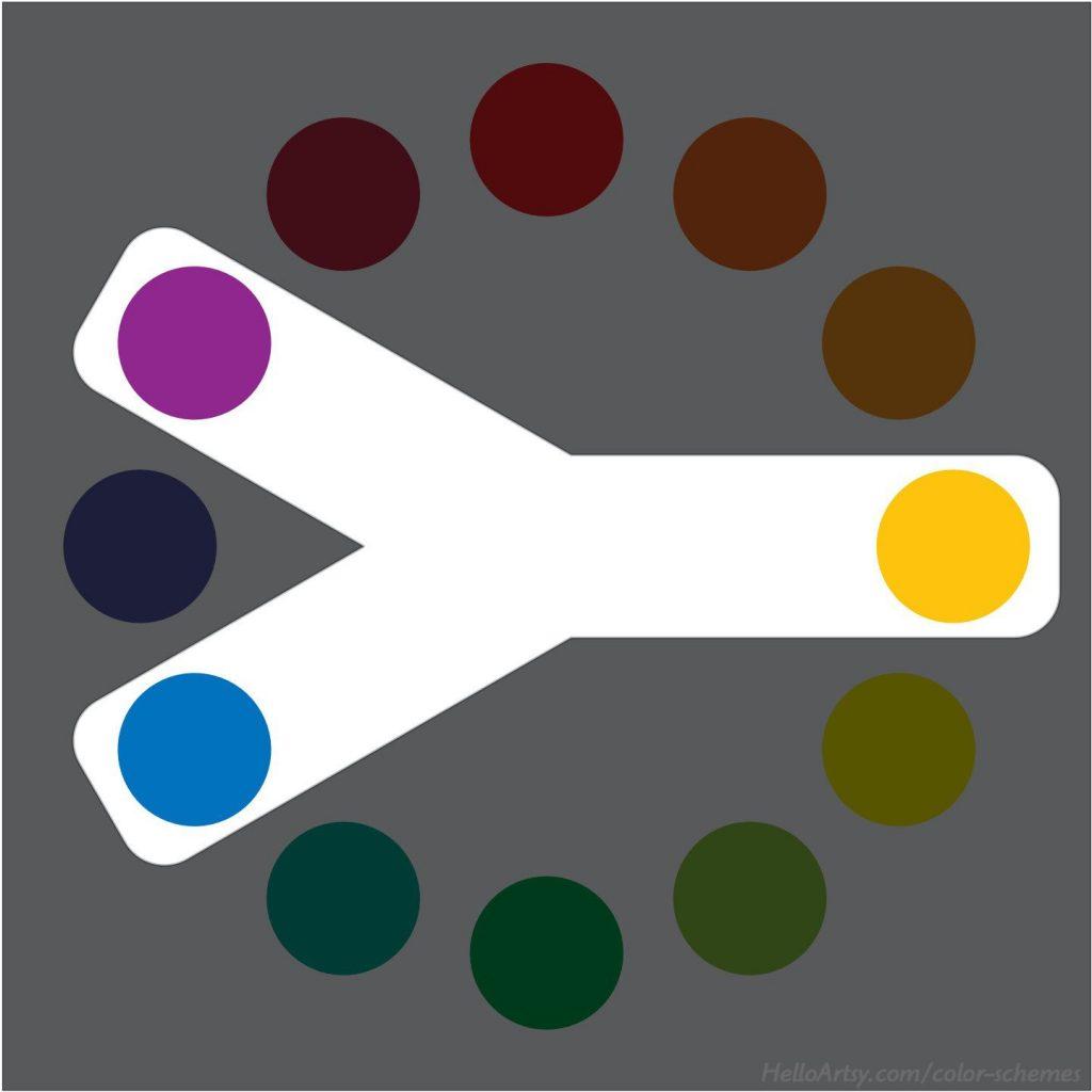Split-Complementary Color Scheme (yellow-orange | purple | blue)