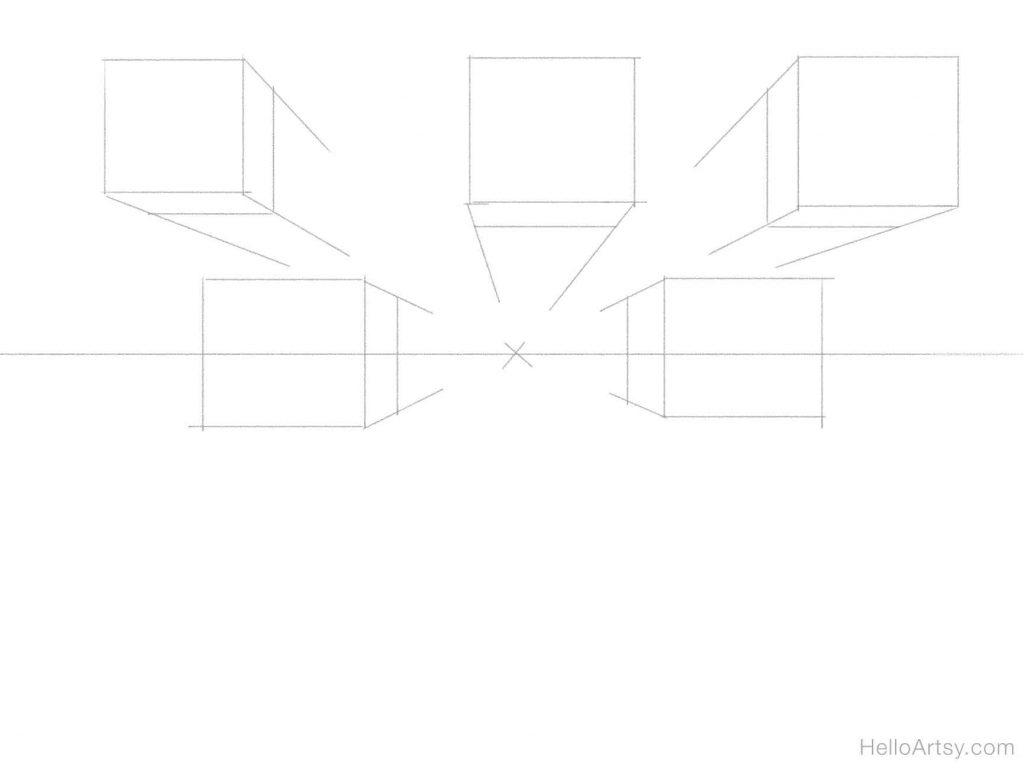 5 boxes sketch