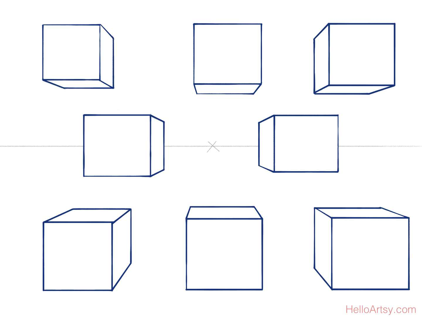 8 perspective boxes complete (with horizon line)