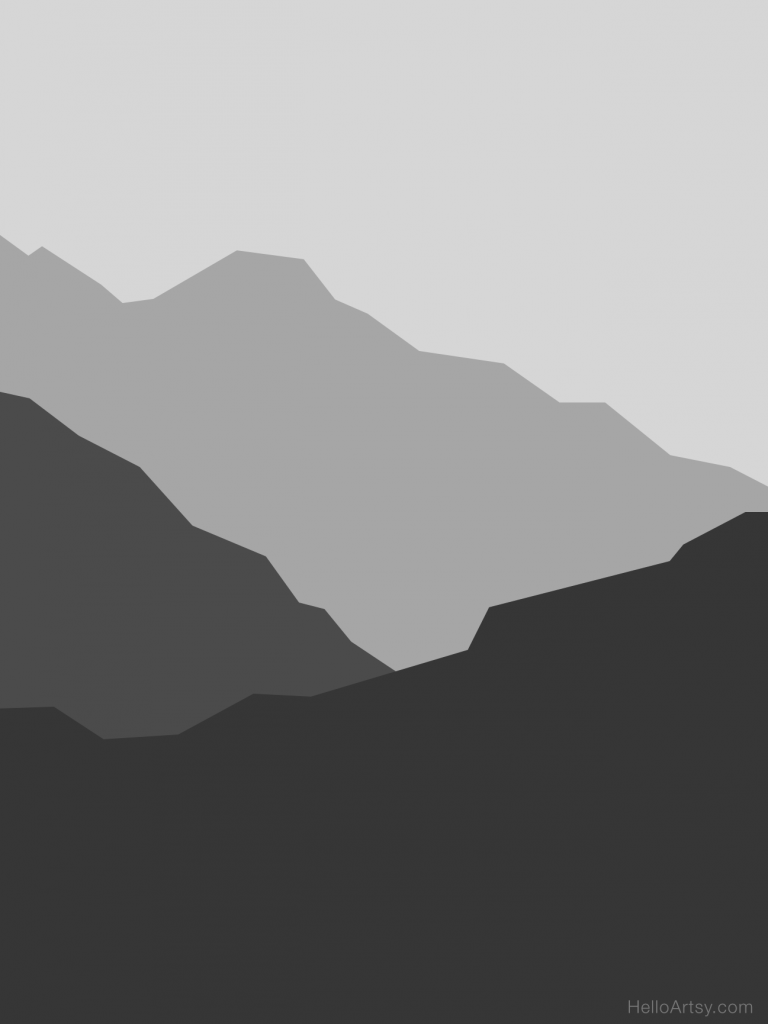 Atmospheric Perspective Mountains Posterized Black and White