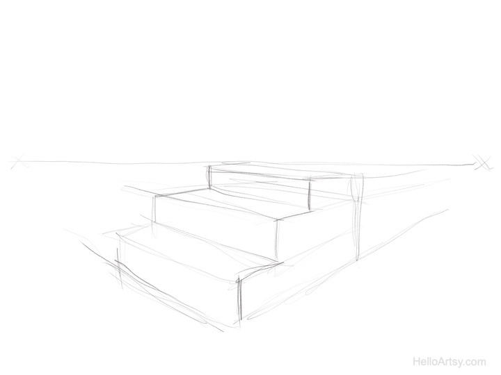 sketch then Ink perspective lines (step 1)