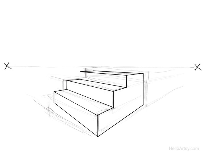 sketch then Ink perspective lines (step 2)