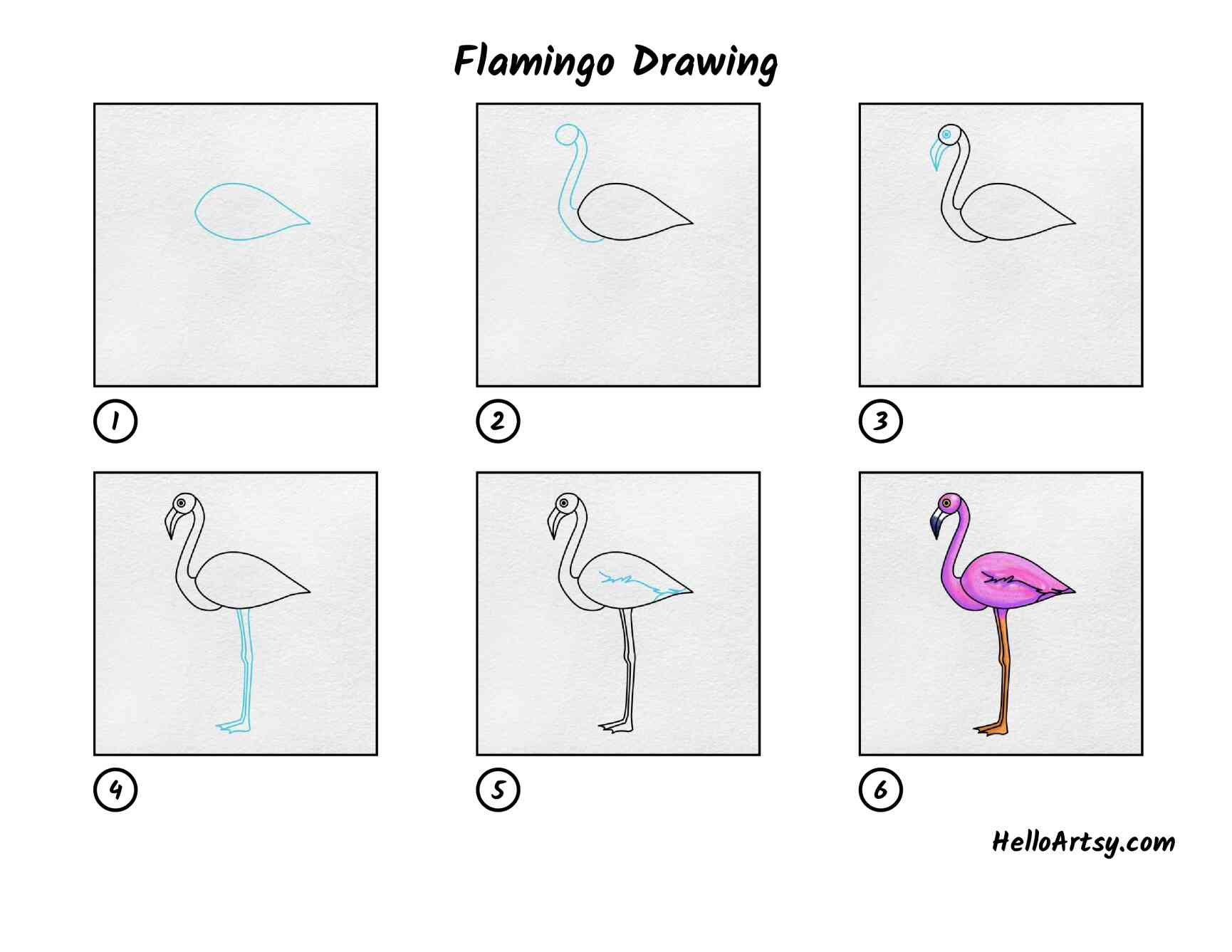 Flamingo Drawing: All Steps