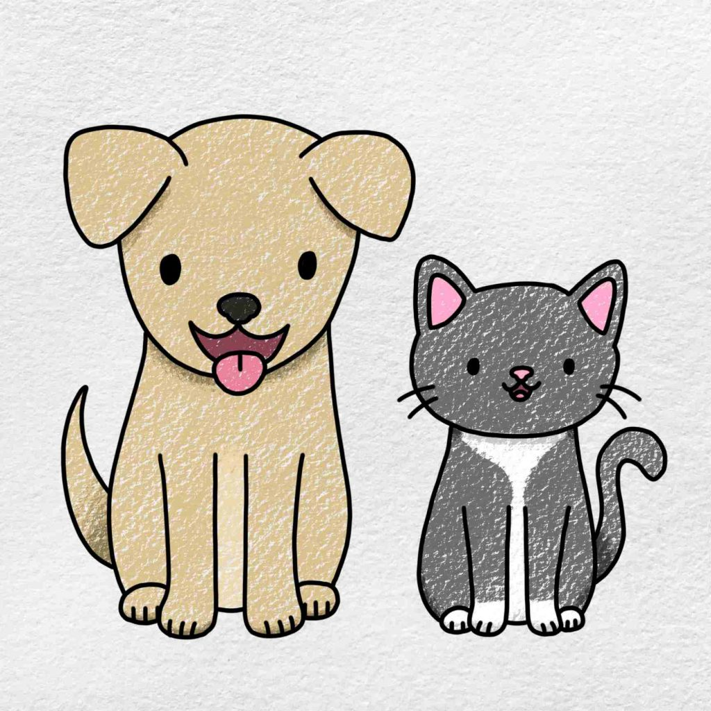 Cat And Dog Drawing: Step 9