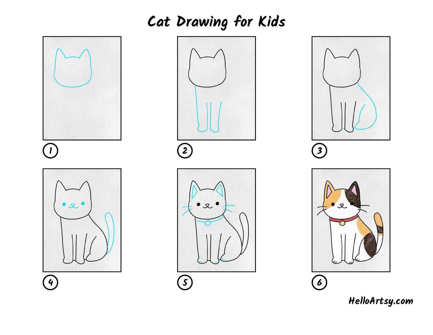 Cat Drawing For Kids: All Steps
