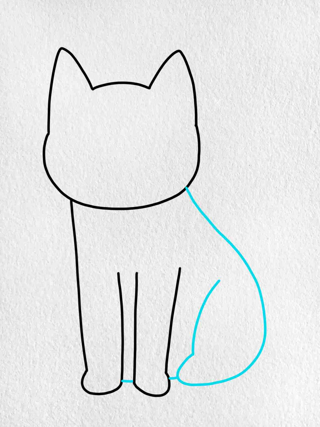 Cat Drawing For Kids: Step 3