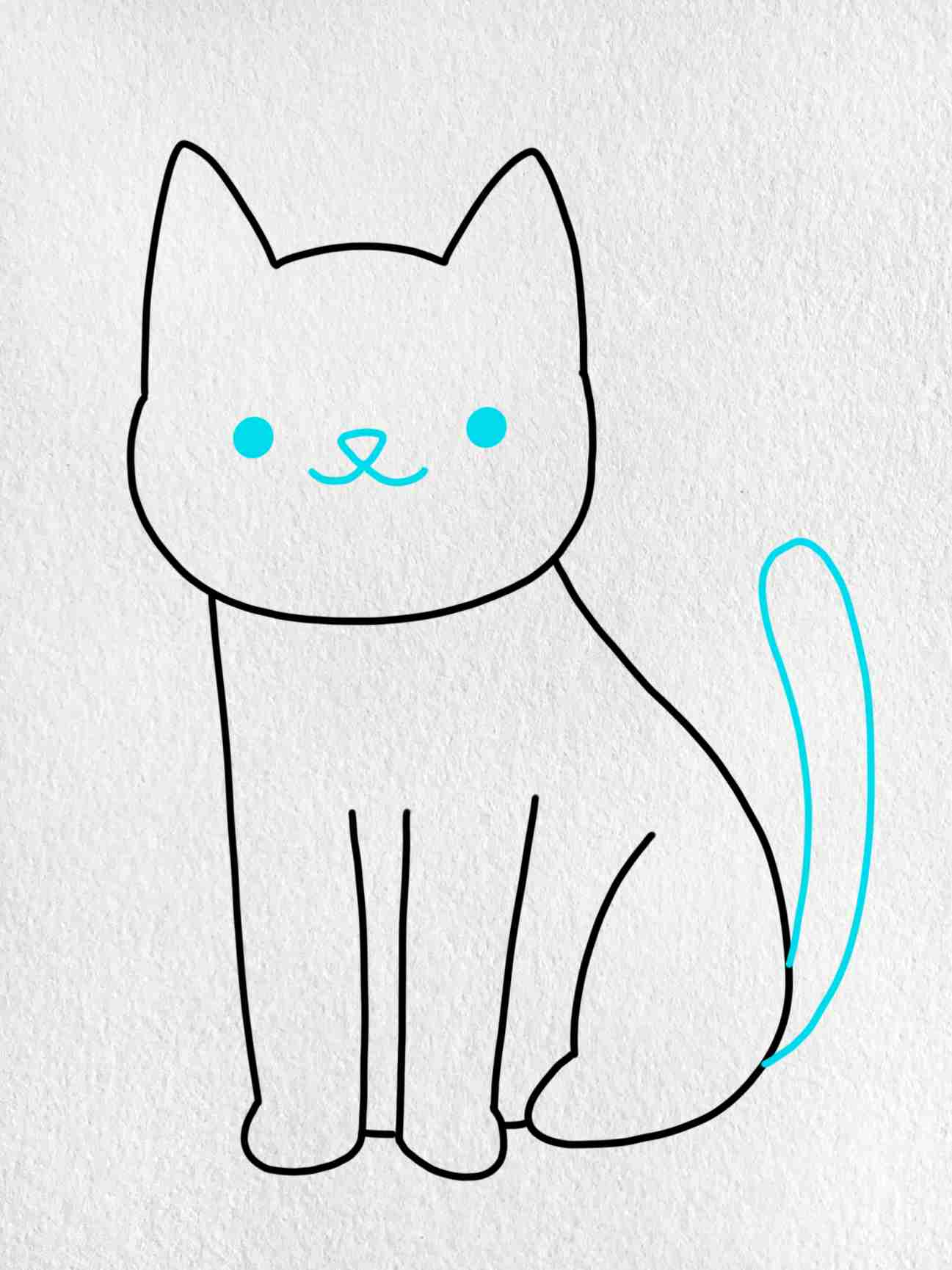 Cat Drawing For Kids: Step 4