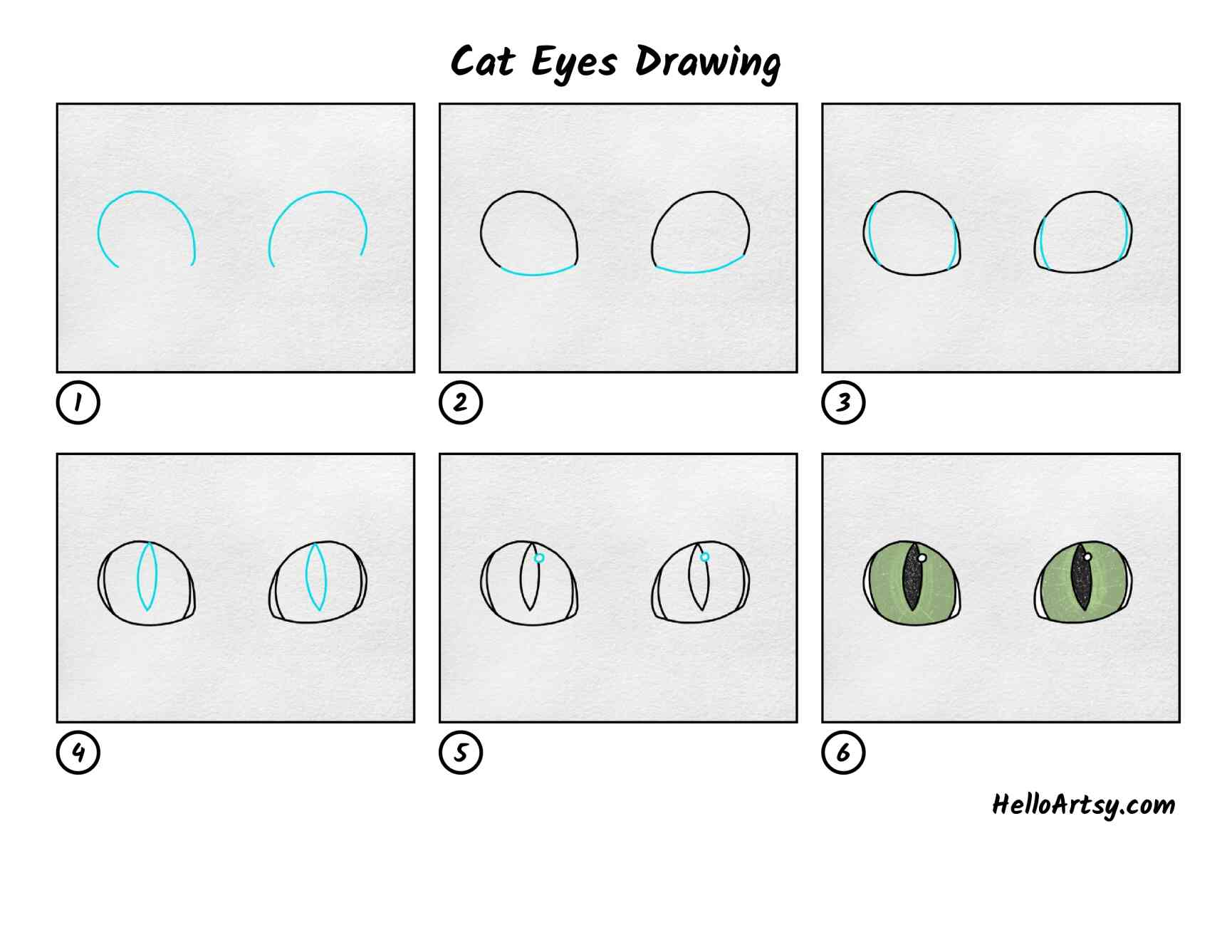 Cat Eyes Drawing: All Steps