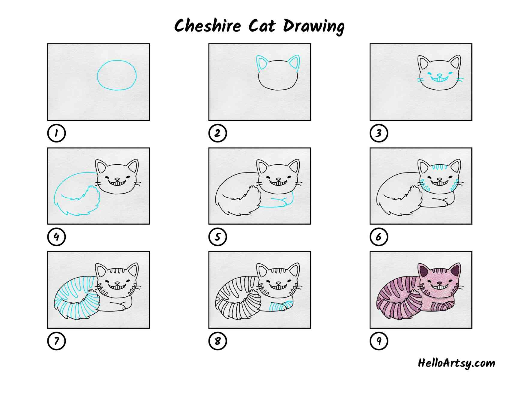 Cheshire Cat Drawing: All Steps