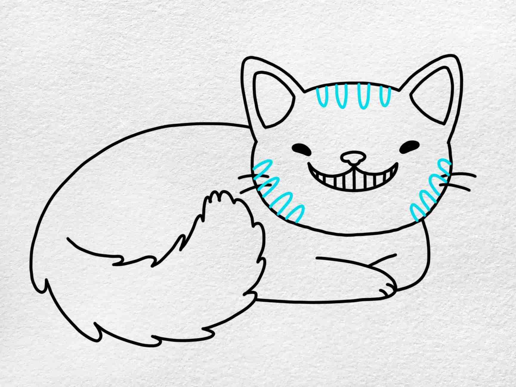 Cheshire Cat Drawing: Step 6
