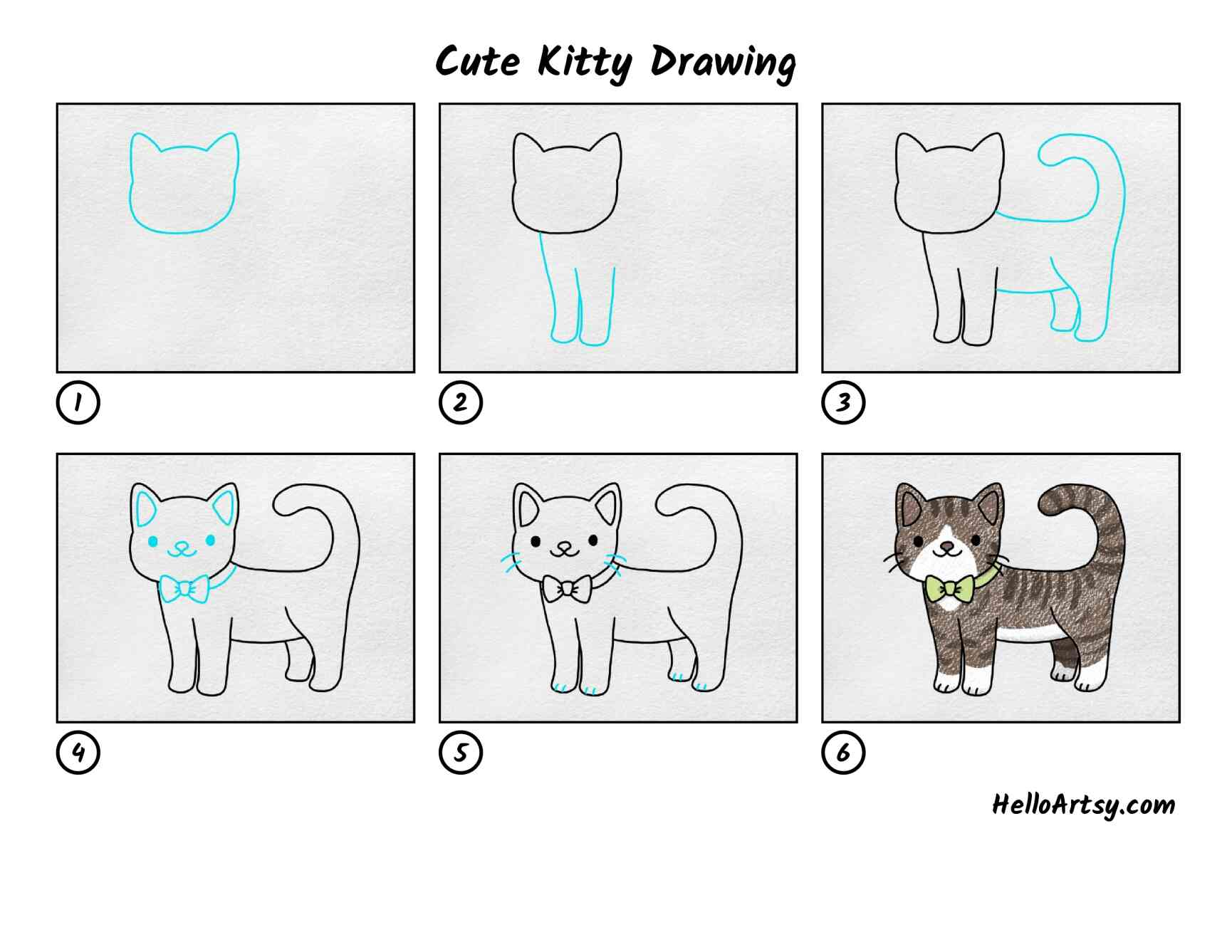 Cute Kitty Drawing: All Steps
