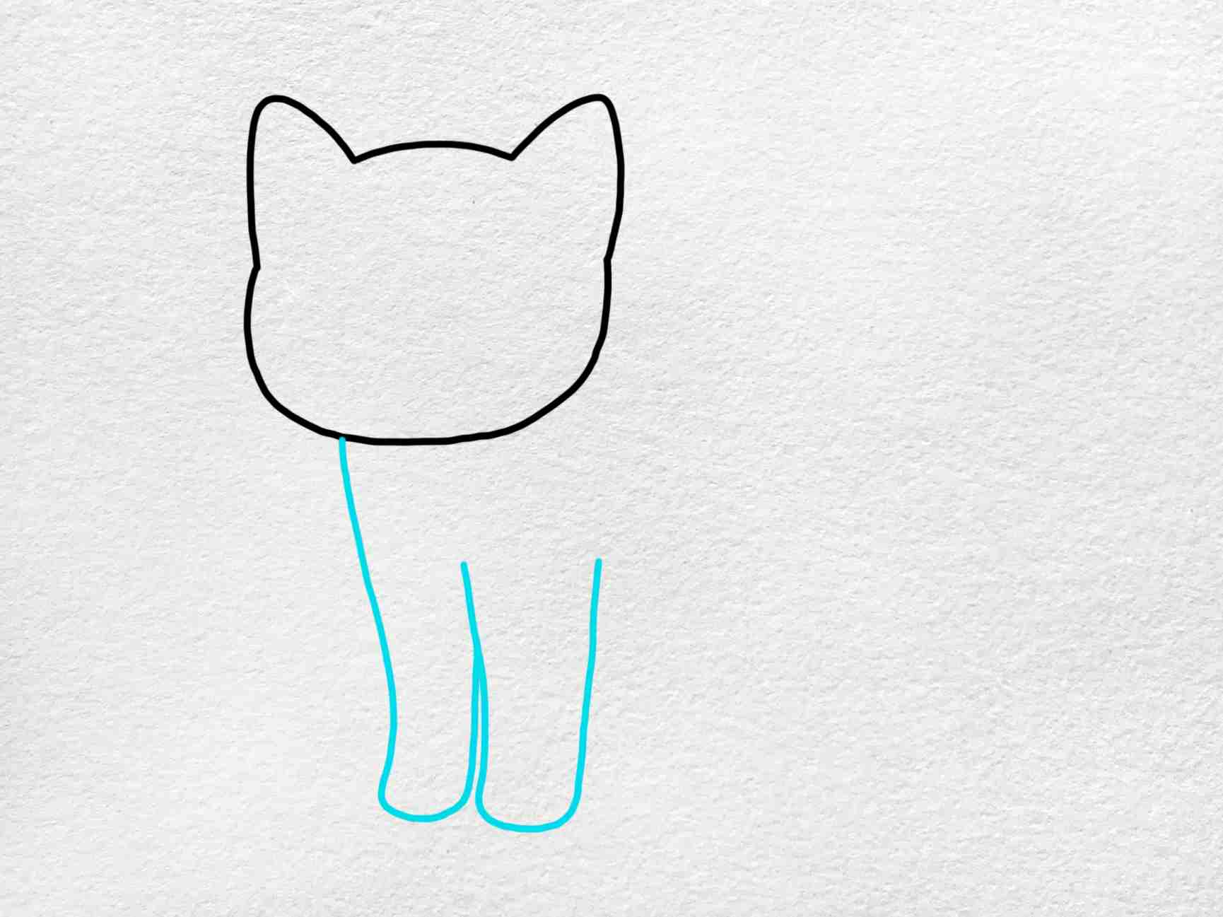 Cute Kitty Drawing: Step 2