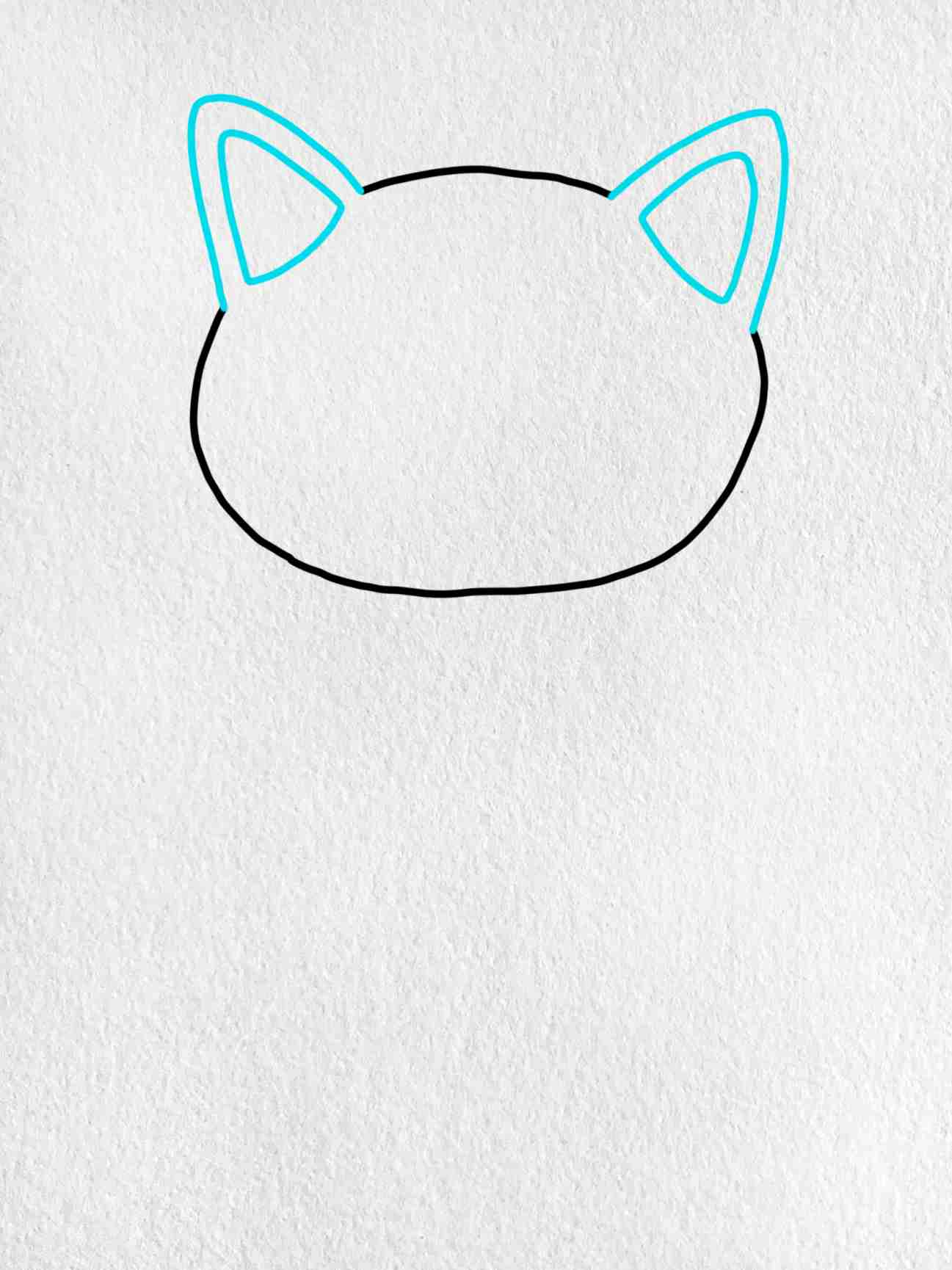 Easy Cat Drawing: Step 2