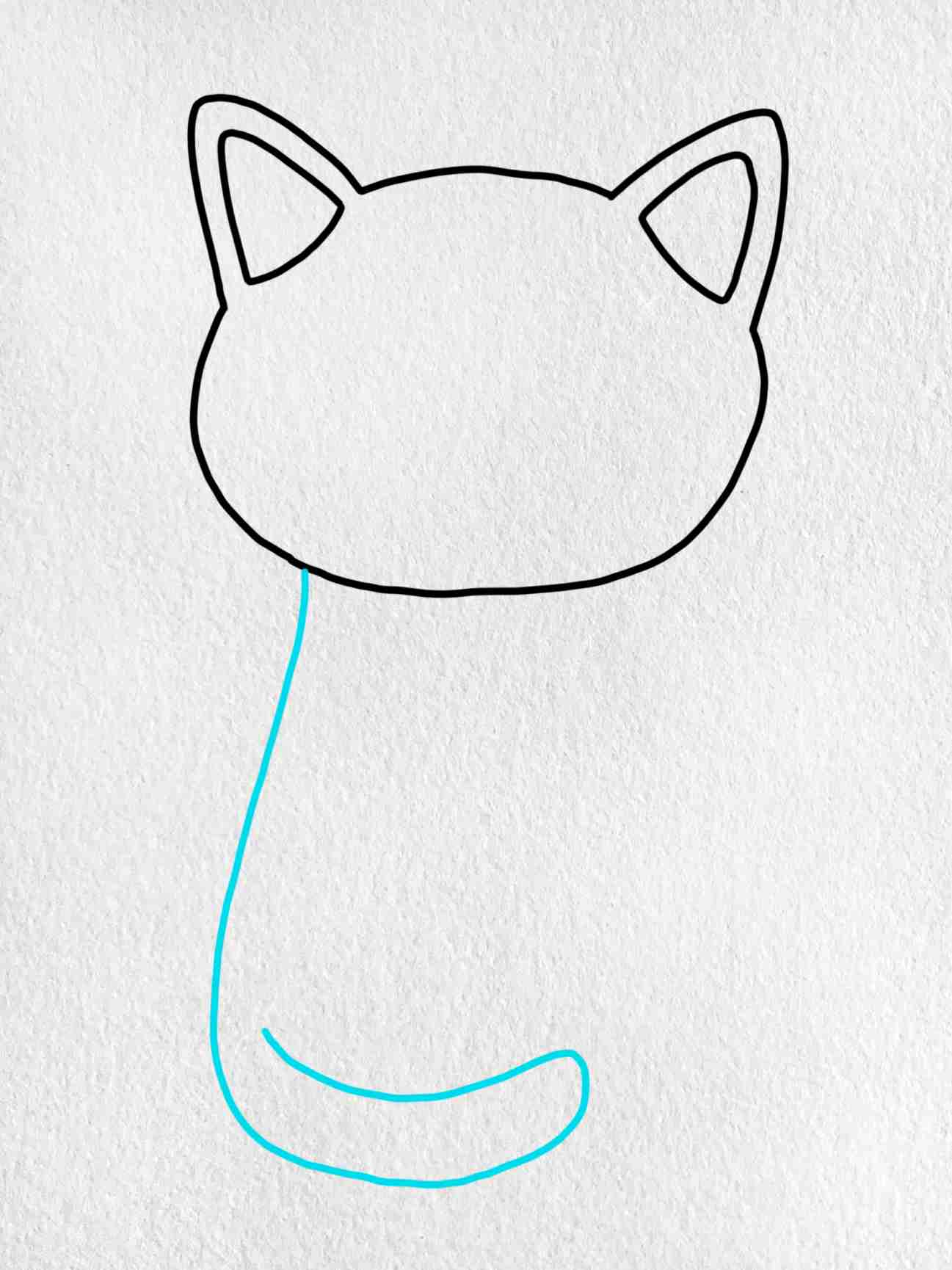 Easy Cat Drawing: Step 3