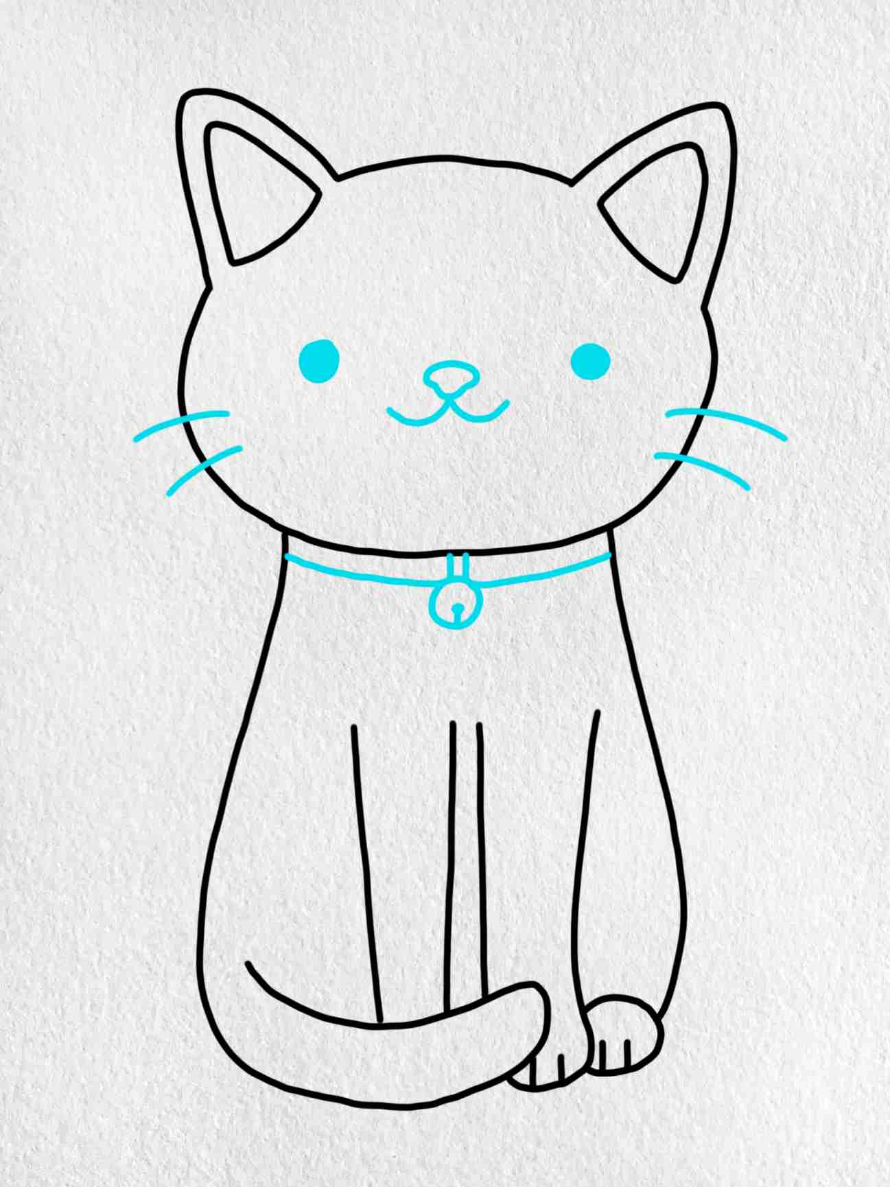 Easy Cat Drawing: Step 5