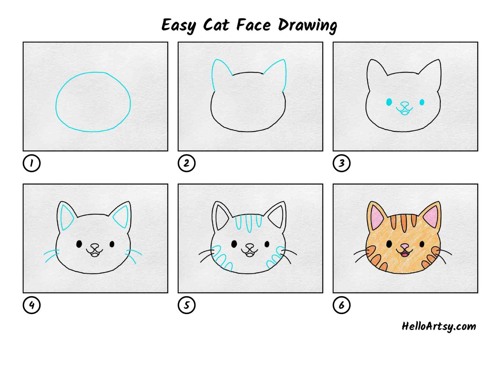 Easy Cat Face Drawing: All Steps